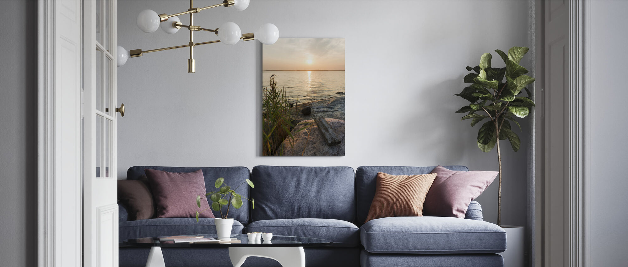 Sunset over Nässlingen, Sweden - Canvas print - Living Room
