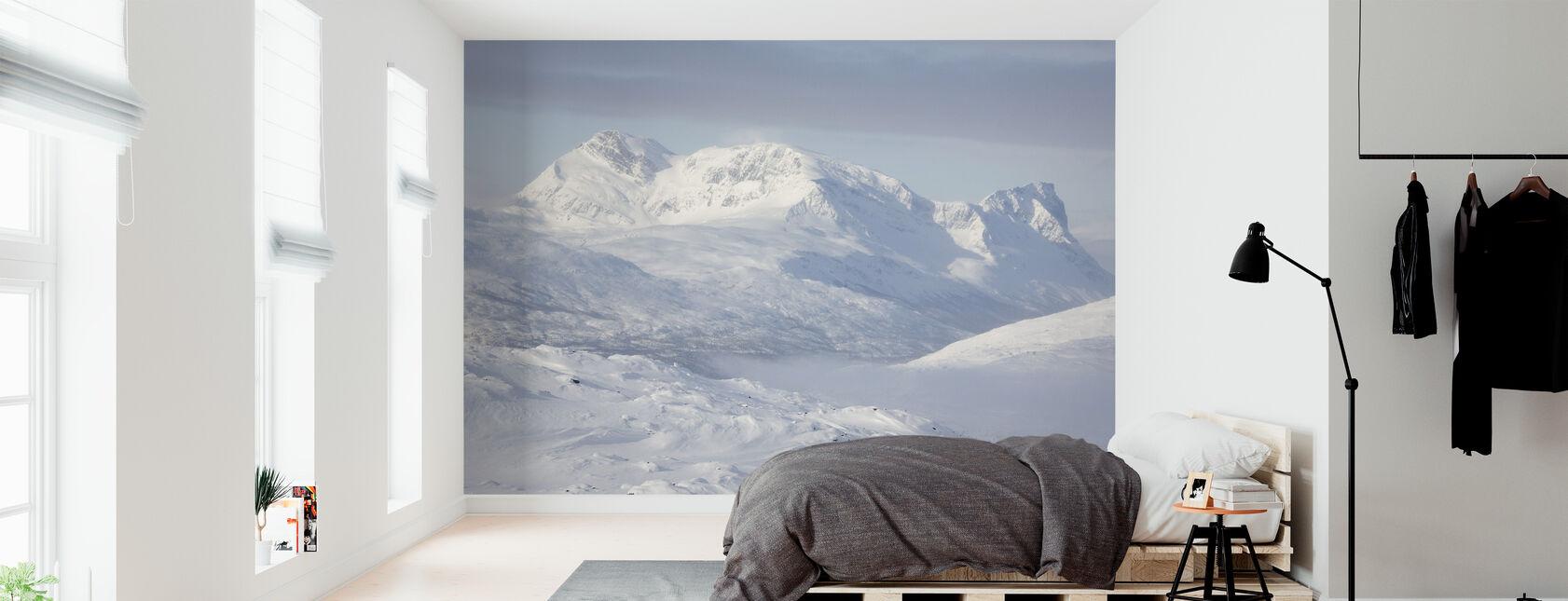 Sneklædte bjerge i Lapland, Sverige - Tapet - Soveværelse