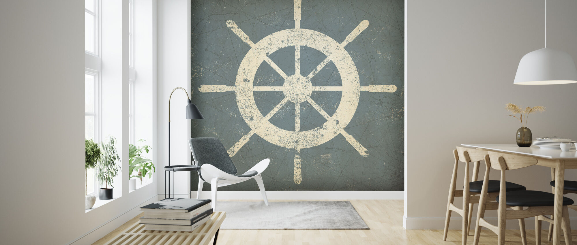 Nautisches Schiffrad - Tapete - Wohnzimmer