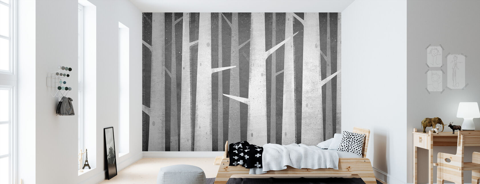 Berken Winter Woods - Behang - Kinderkamer
