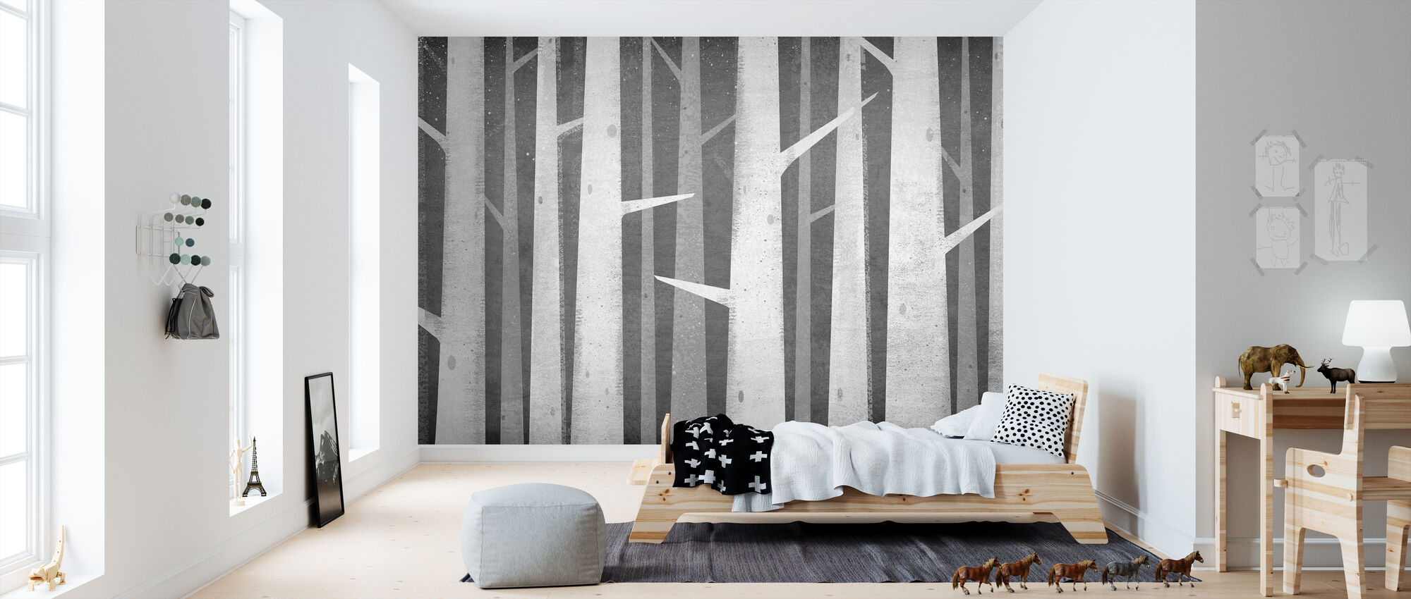 Birches Winter Woods - Wallpaper - Kids Room