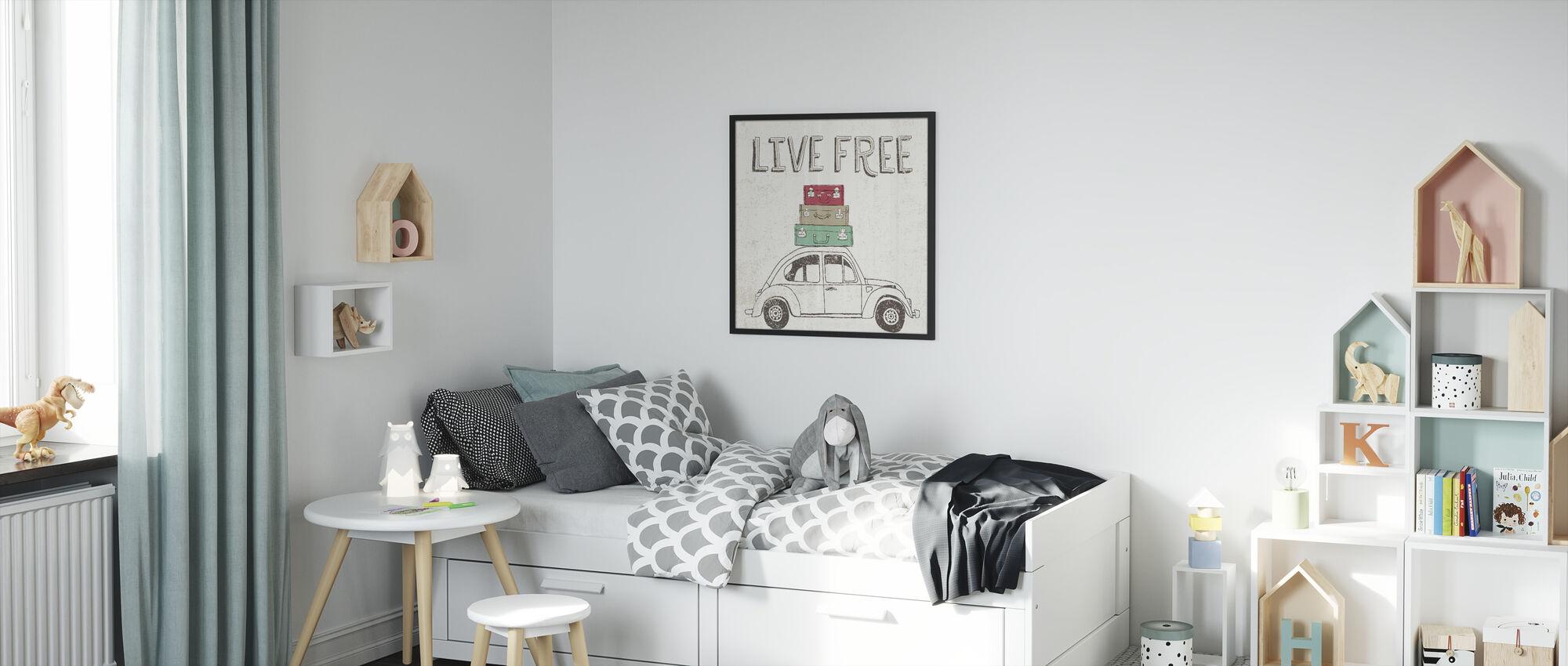 Road Trip - Beetle Luggage - Framed print - Kids Room
