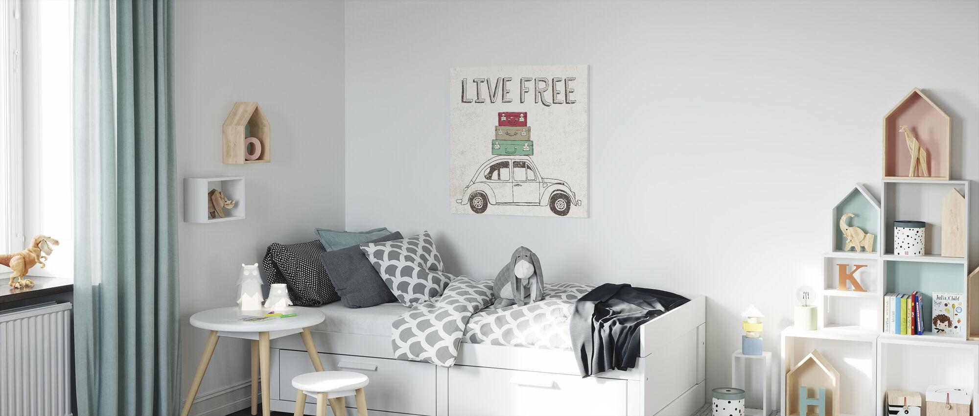 Road Trip - Beetle Luggage - Canvas print - Kids Room