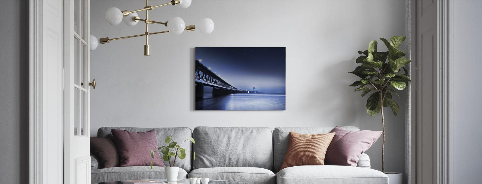 Öresundsbron på natten - Canvastavla - Vardagsrum