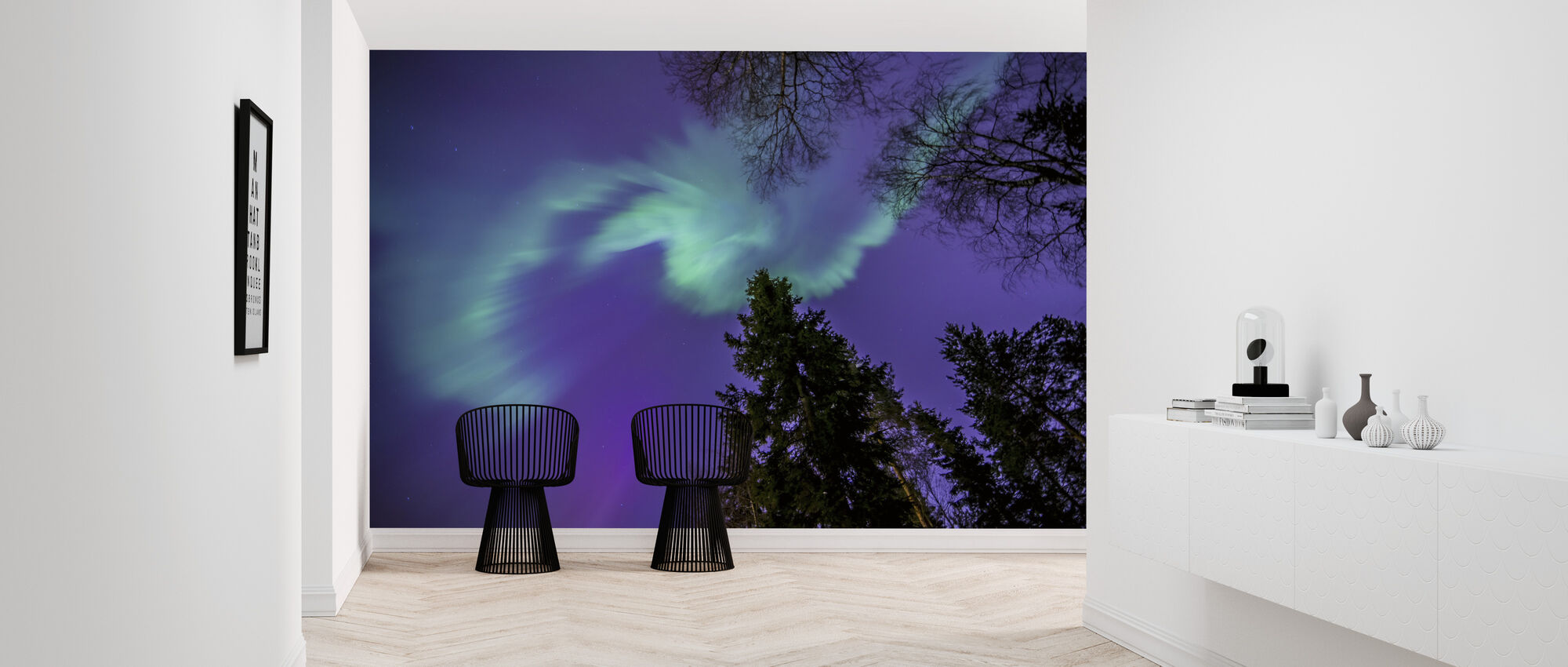 Northern Light - Purple Sky - Wallpaper - Hallway