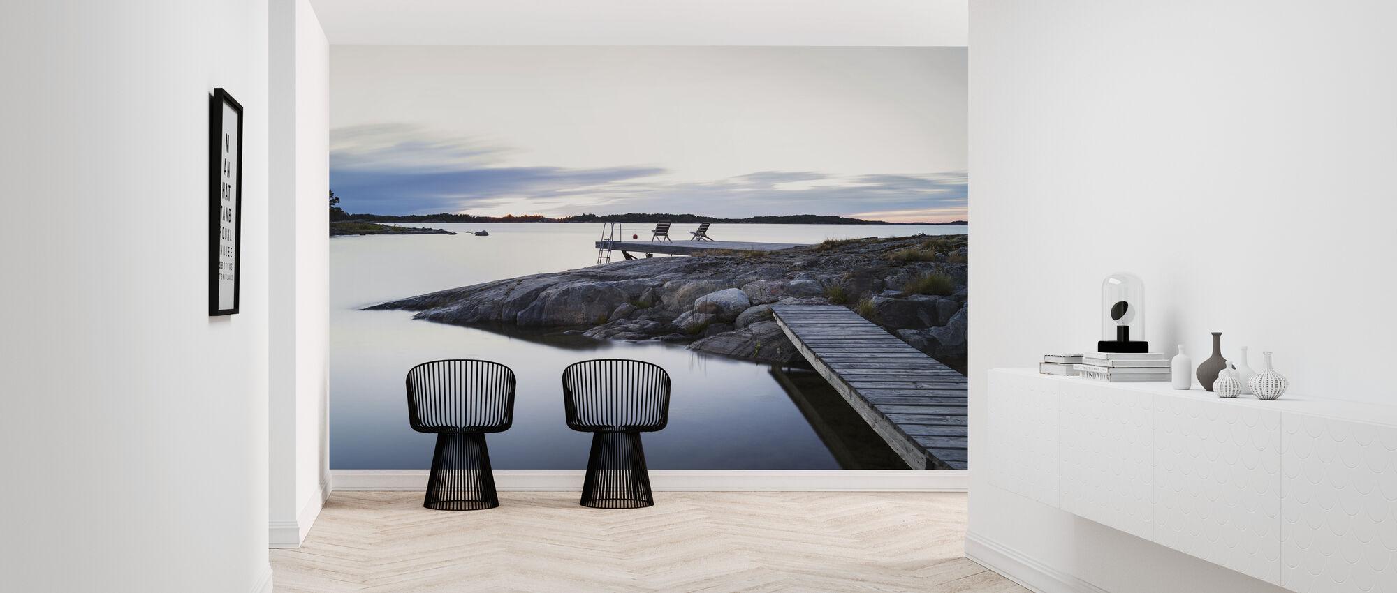 Ontspannende stoelen aan de Oostzee - Behang - Gang