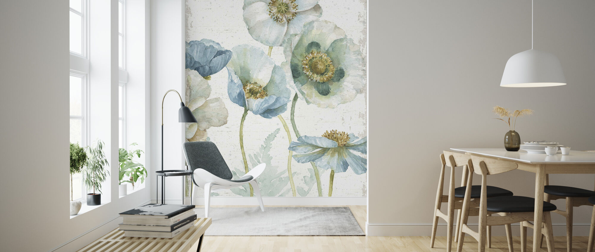 My Greenhouse Flowers on Wood - Wallpaper - Living Room