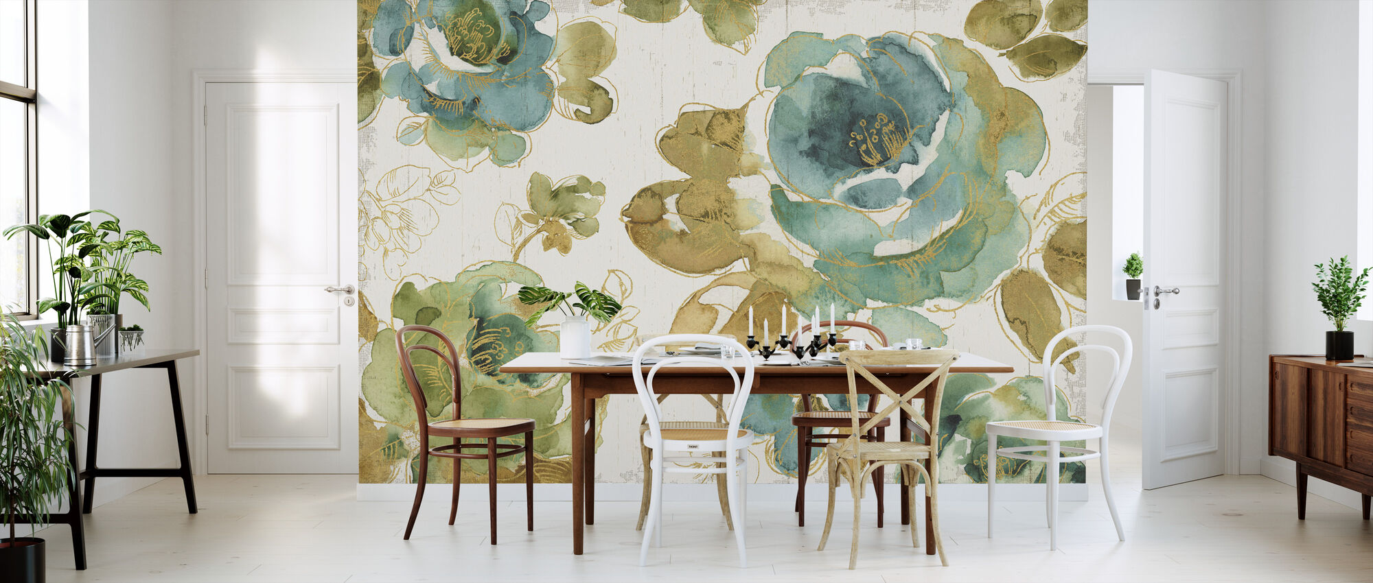 My Greenhouse Roses on Wood - Wallpaper - Kitchen