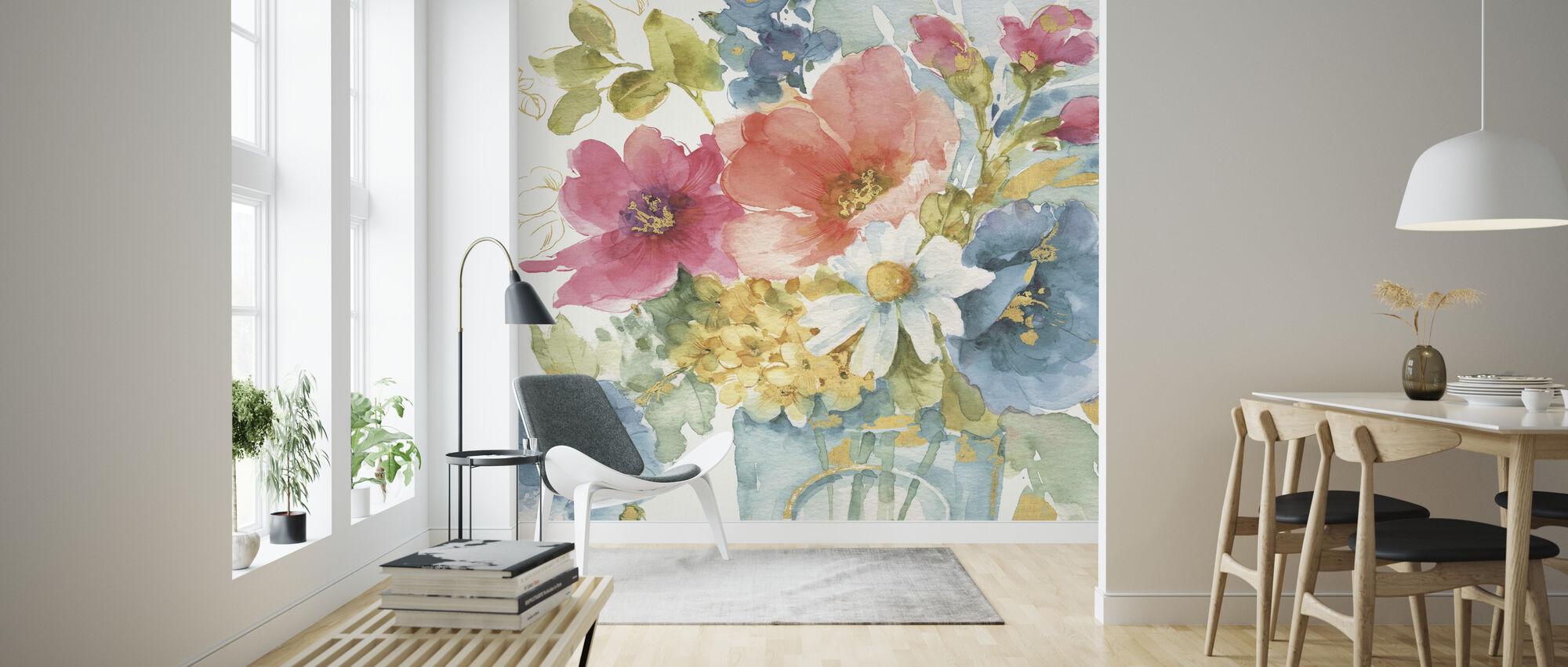 Mein Garten Blumenstrauß - Tapete - Wohnzimmer
