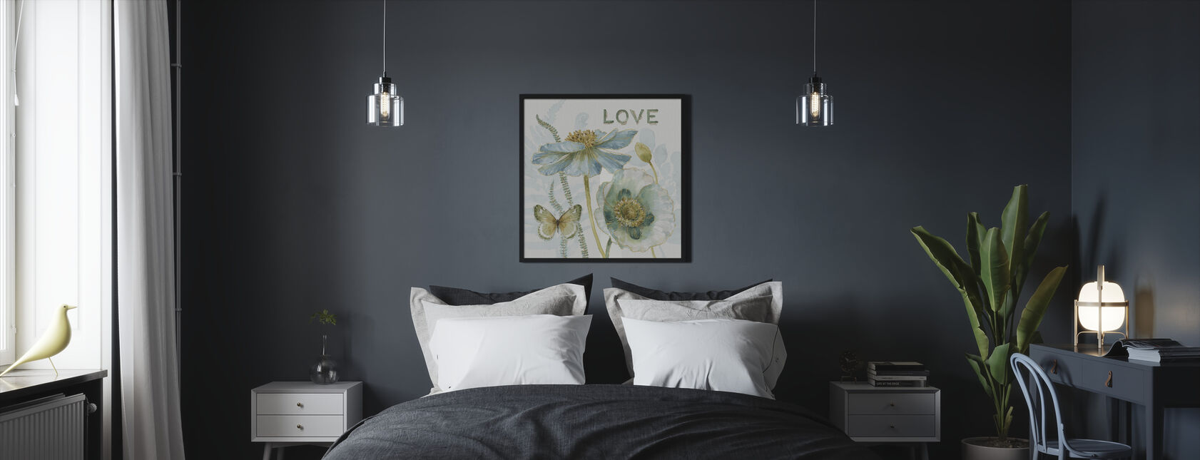 Mit drivhus Blomster - Kærlighed - Indrammet billede - Soveværelse