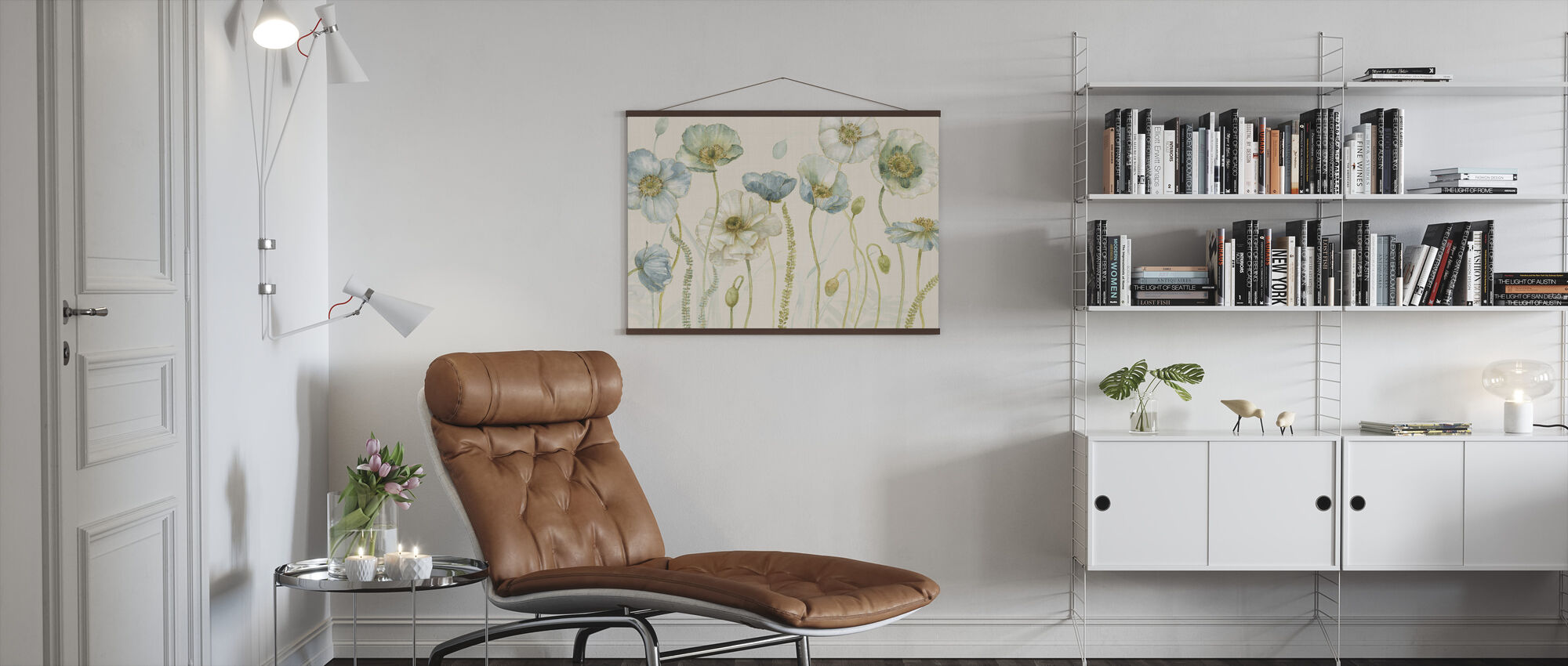 My Greenhouse Flowers on Linen - Cream - Poster - Living Room