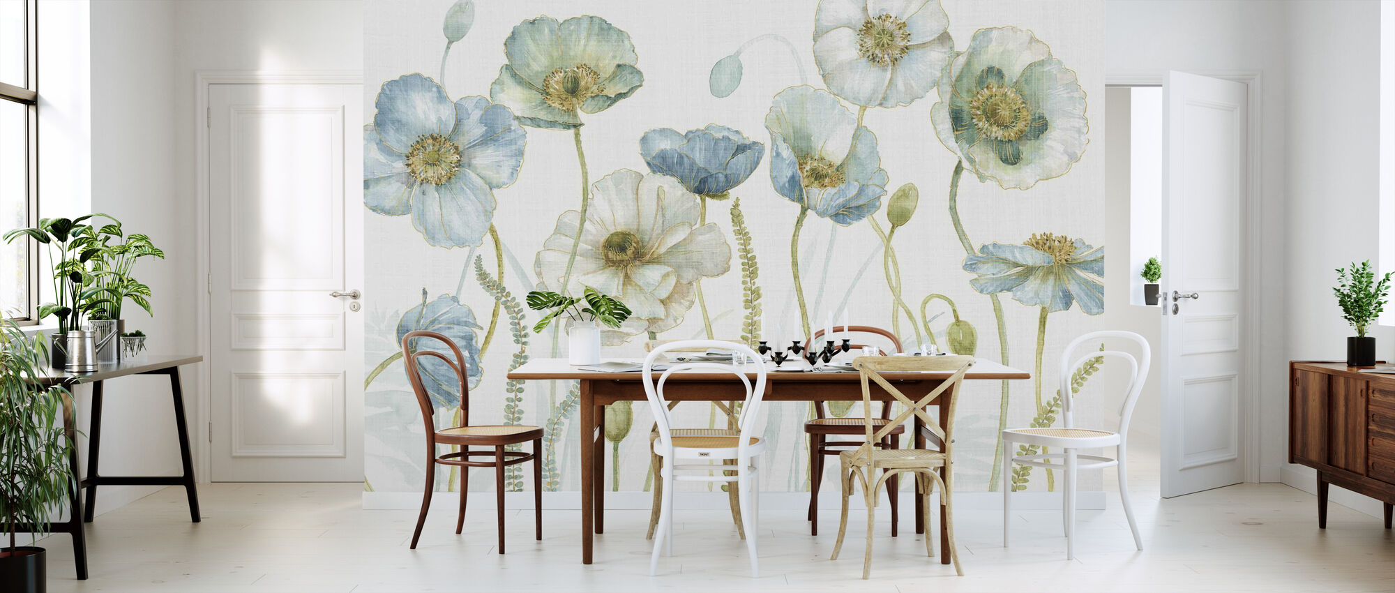 My Greenhouse Flowers on Linen - Wallpaper - Kitchen
