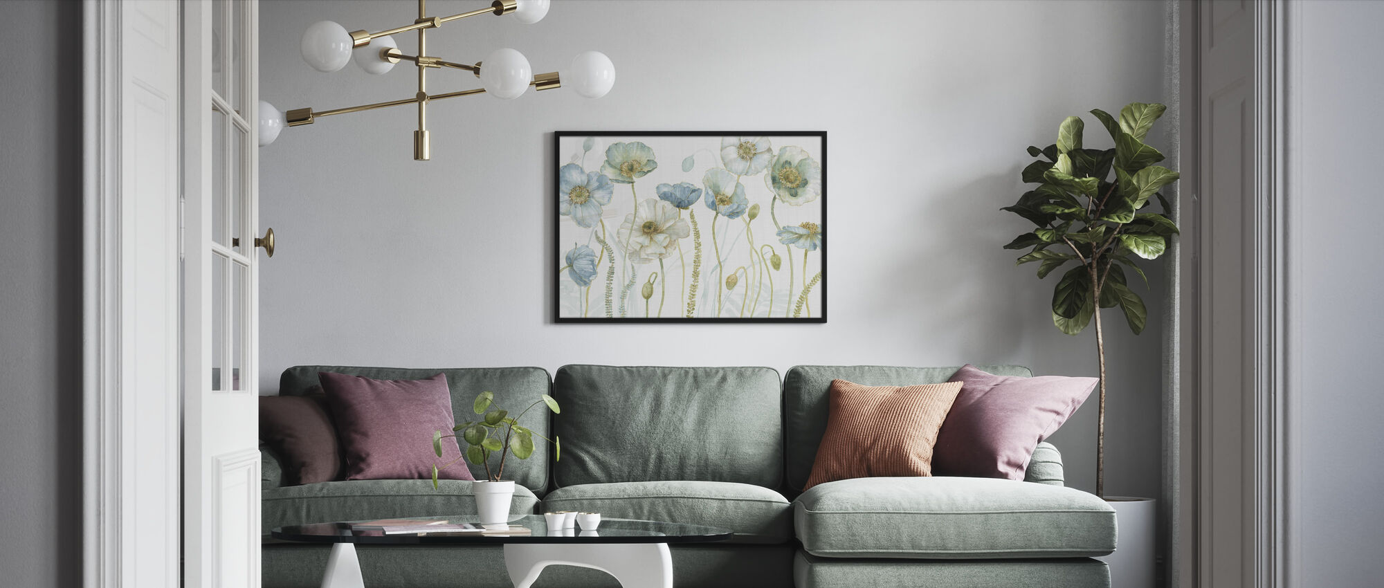 My Greenhouse Flowers on Linen - Framed print - Living Room