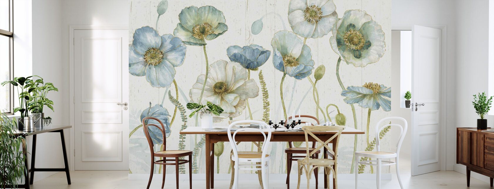 My Greenhouse Flowers on Wood - Wallpaper - Kitchen