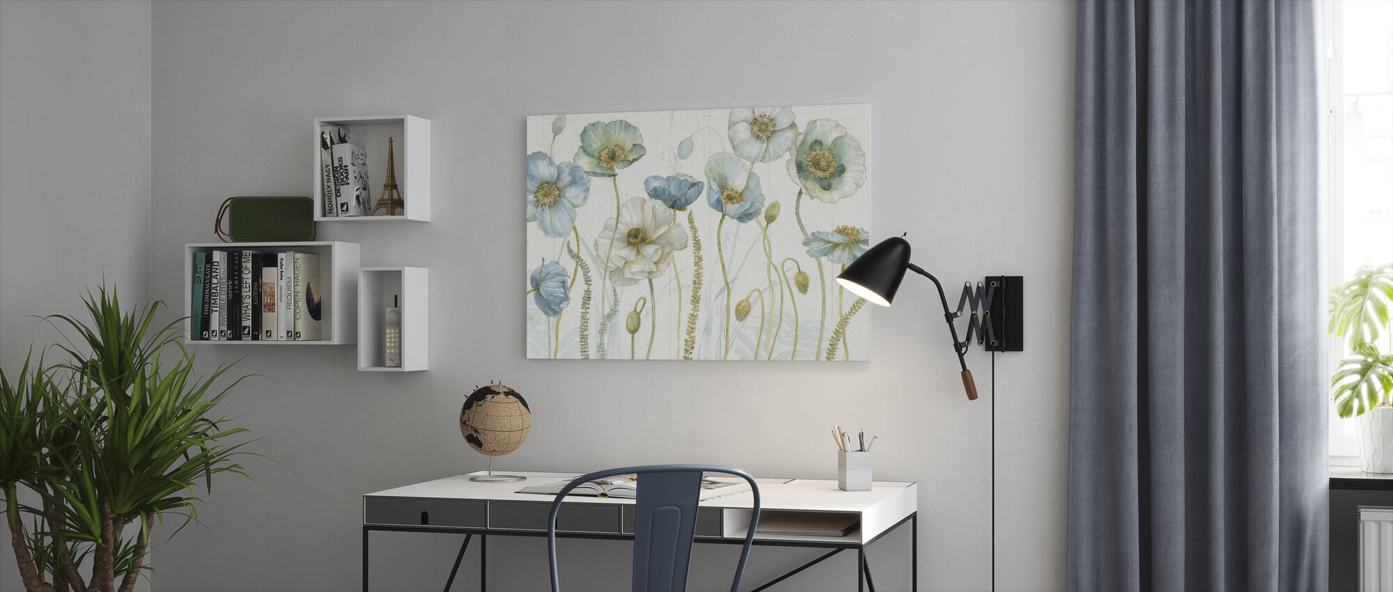 My Greenhouse Flowers on Wood - Canvas print - Office