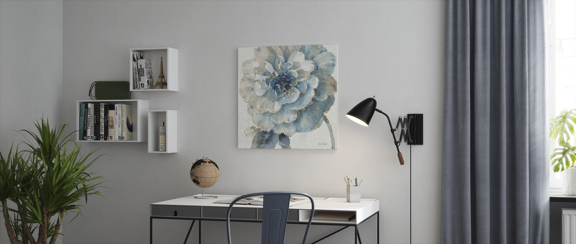 Indigold Floral 3 - Canvas print - Office