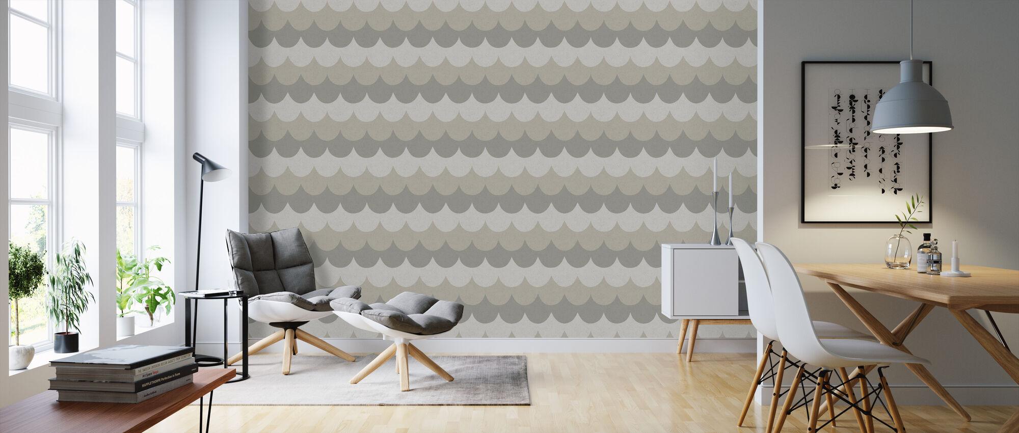 Flow Grey - Wallpaper - Living Room