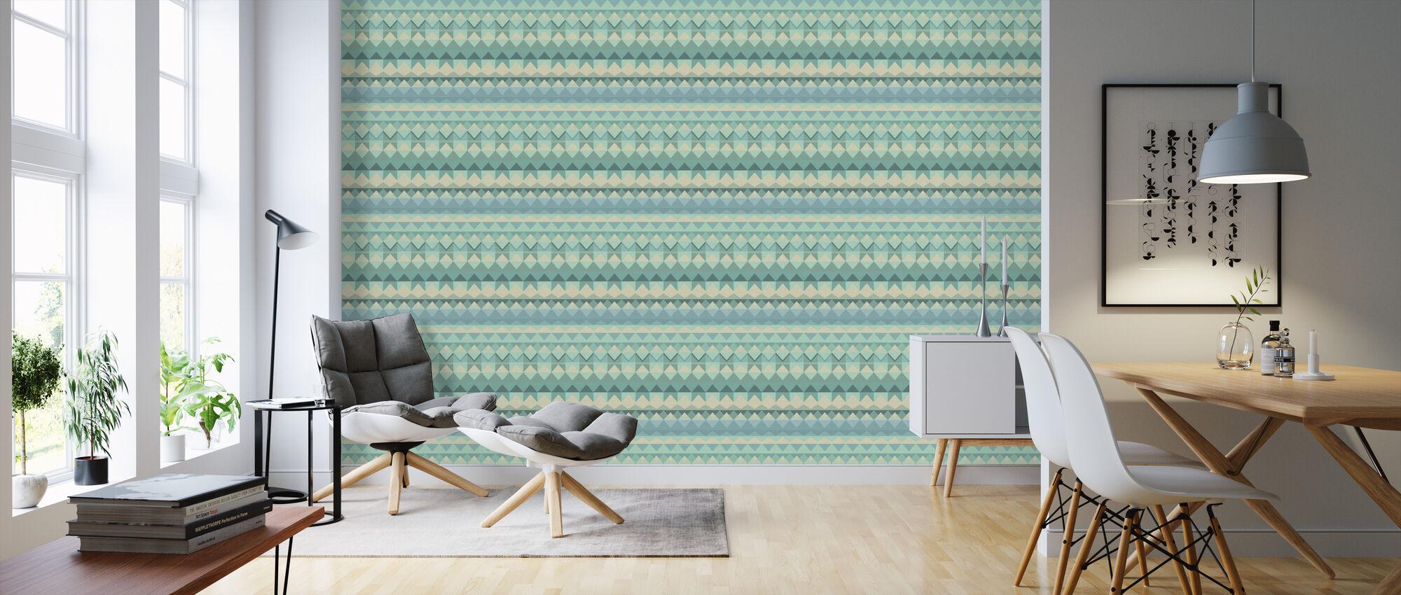 Weave Mint - Wallpaper - Living Room