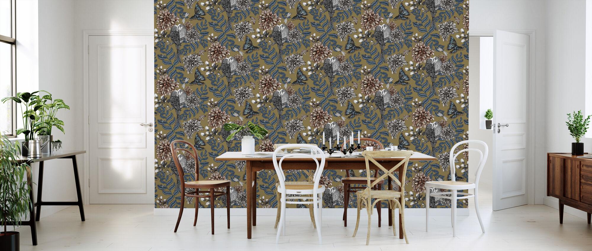 Lovebirds Gold - Small - Wallpaper - Kitchen