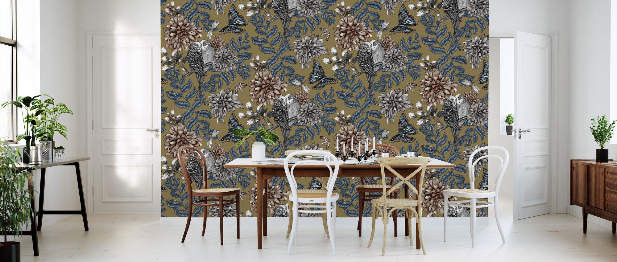 Lovebirds Gold - Large - Wallpaper - Kitchen