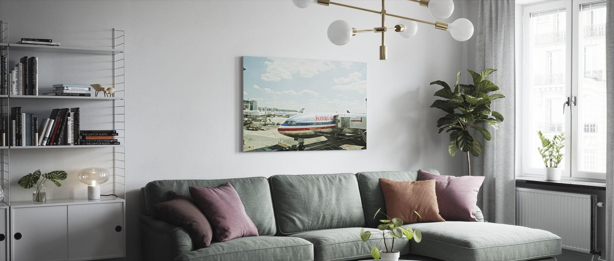 Flygplan i Heathrow, England - Lerretsbilde - Stue