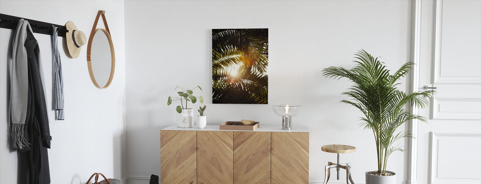 Sunbeam through Palm Leaves - Canvas print - Hallway