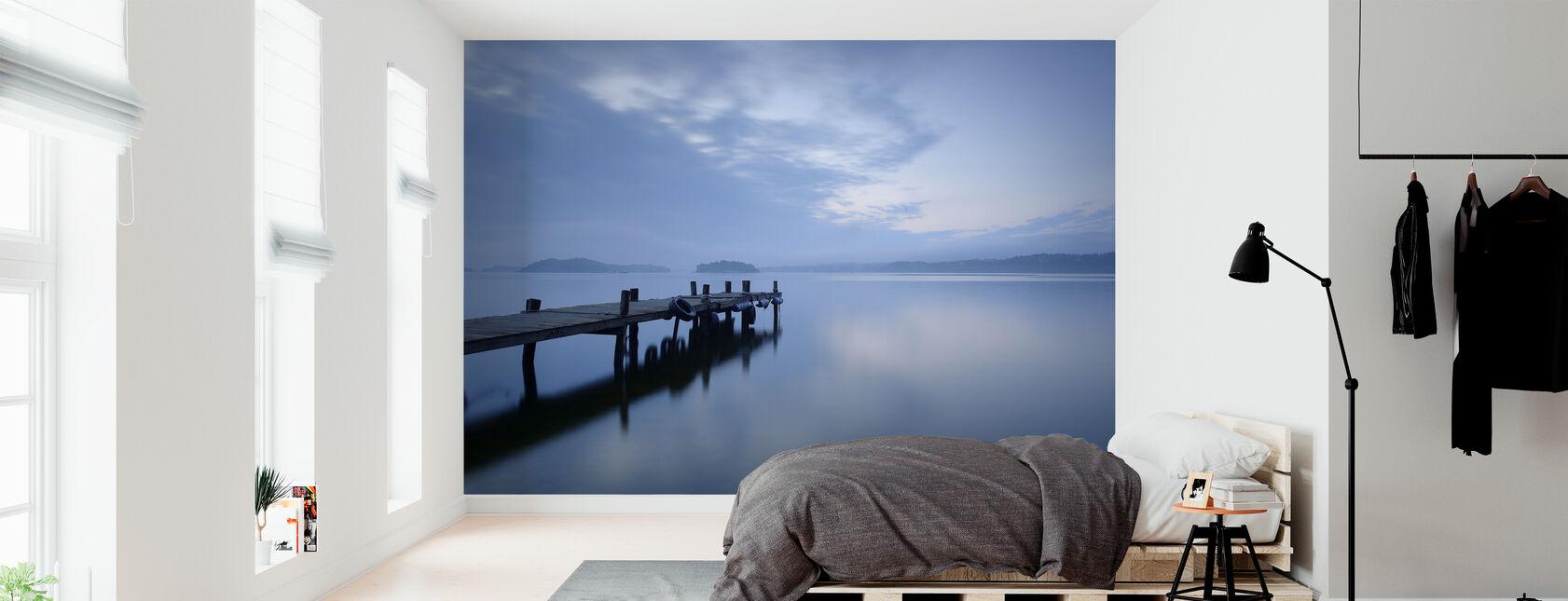 Wooden Pier in Still Lake - Wallpaper - Bedroom