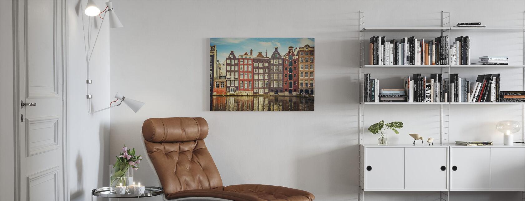 Amsterdam Hus med vann - Lerretsbilde - Stue