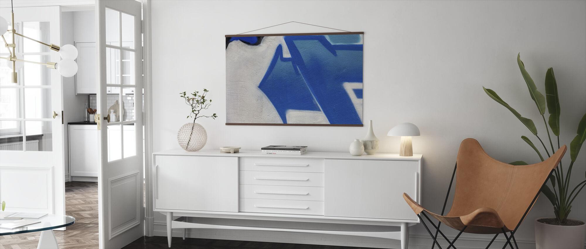 Blue Arrow Graffiti - Poster - Living Room