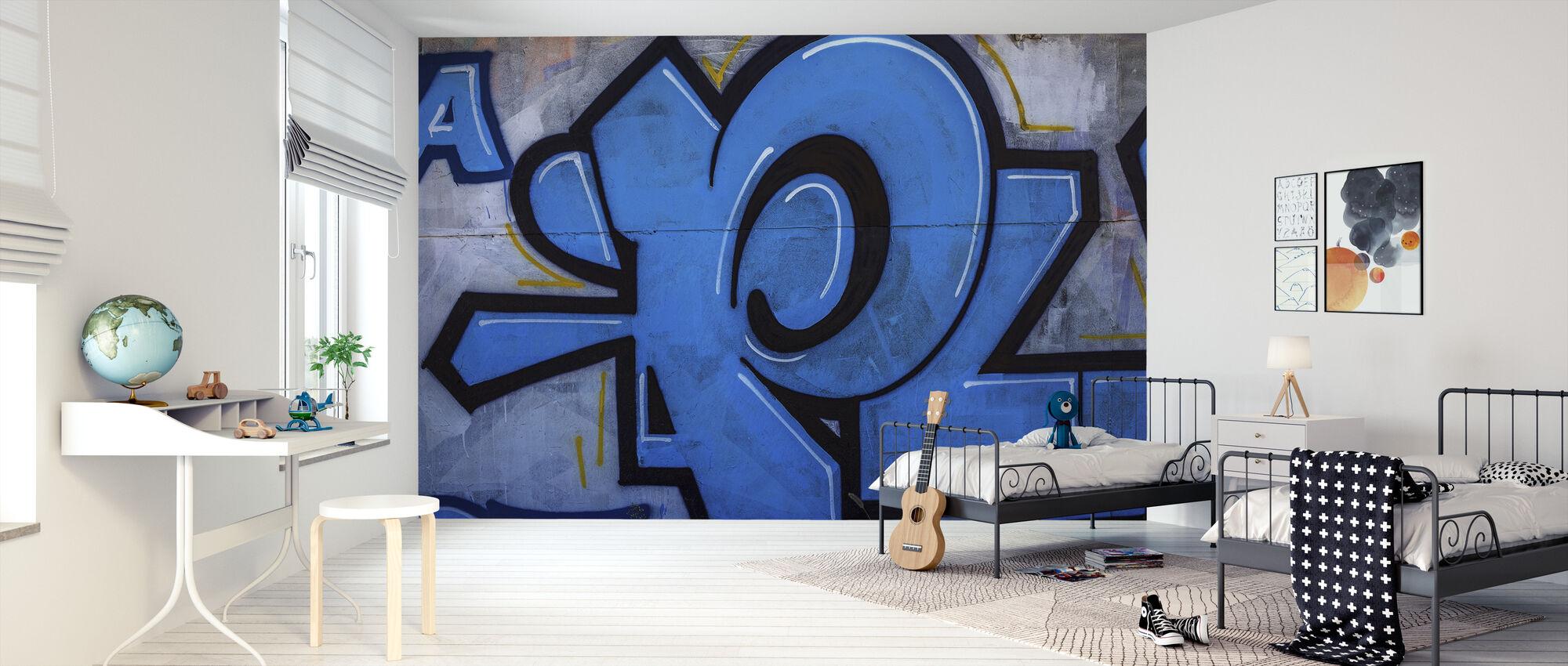 Blå detalj från Graffiti Wall - Tapet - Barnrum