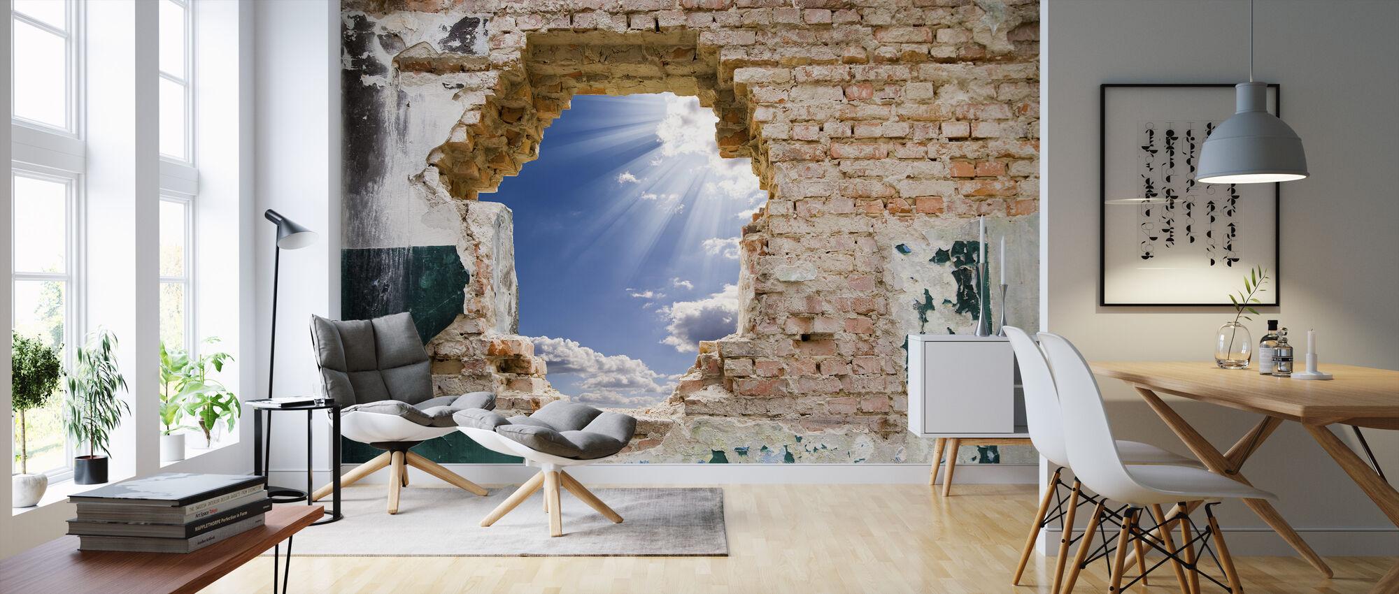 Blå himmel i en gammal mur - Tapet - Vardagsrum
