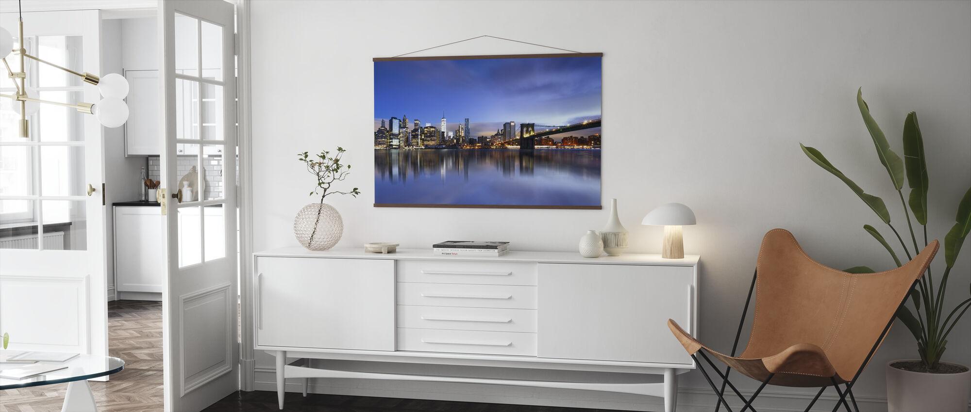 Blue Sunrise over Manhattan - Poster - Living Room