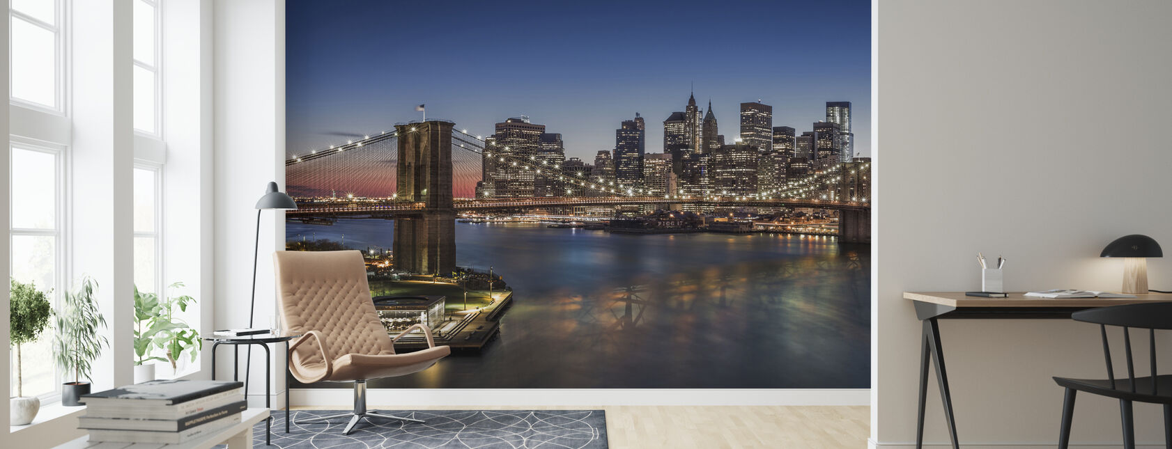 Brooklyn Bridge und Downtown Manhattan - Tapete - Wohnzimmer