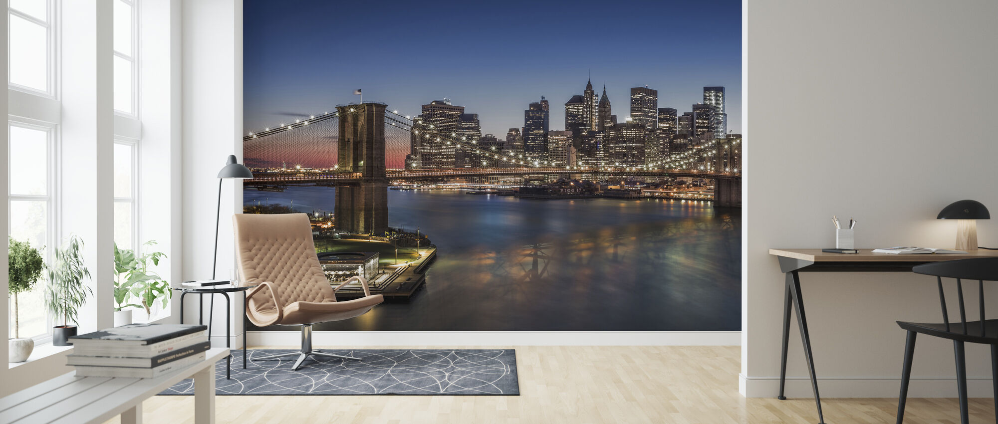 Brooklyn Bridge and Downtown Manhattan - Wallpaper - Living Room