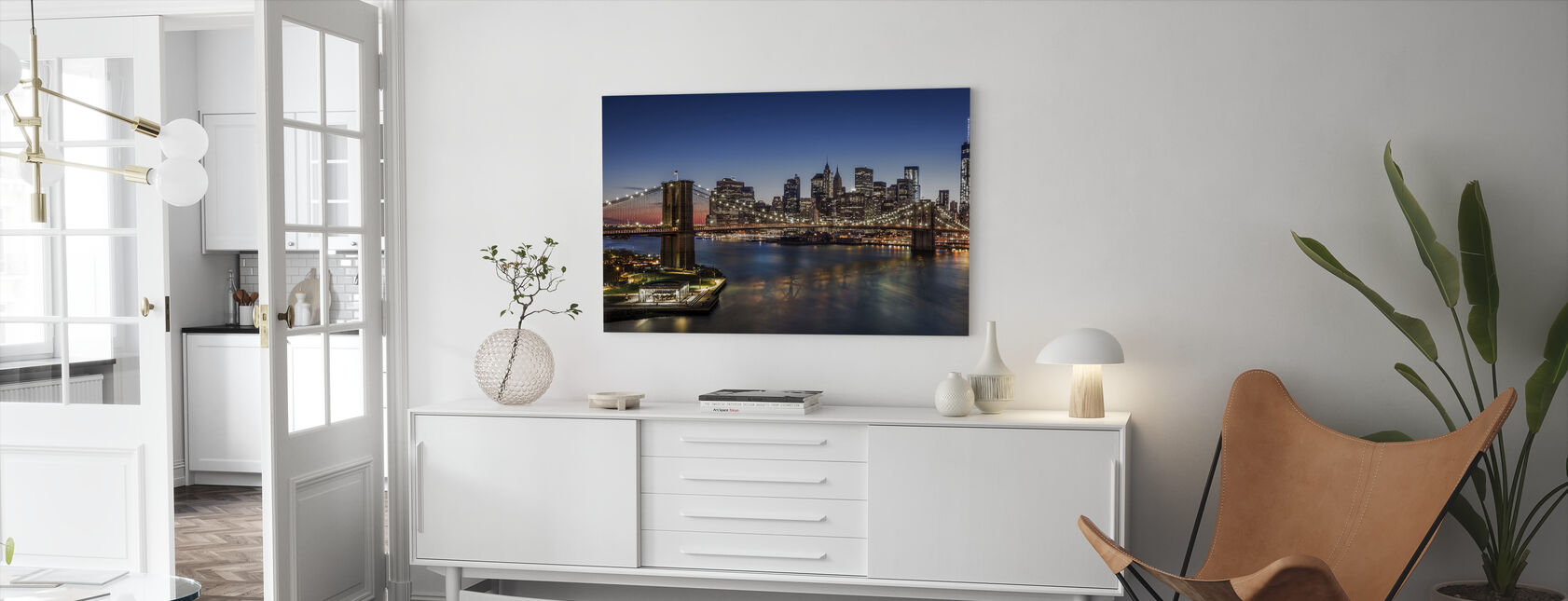 Brooklyn Bridge and Downtown Manhattan - Canvas print - Living Room
