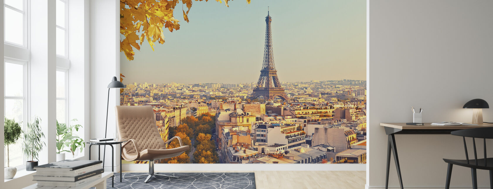 Eiffel Tower Autumn View - Wallpaper - Living Room