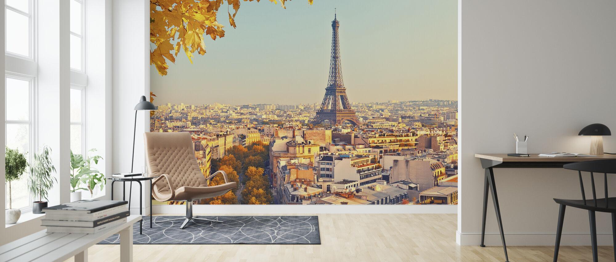 Eiffel Tower Autumn View - Wallpaper - Living Room