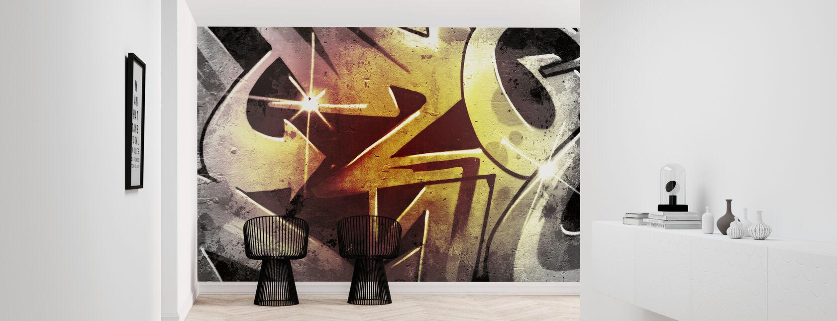 Graffiti over gamle beskidte mur - Tapet - Entré