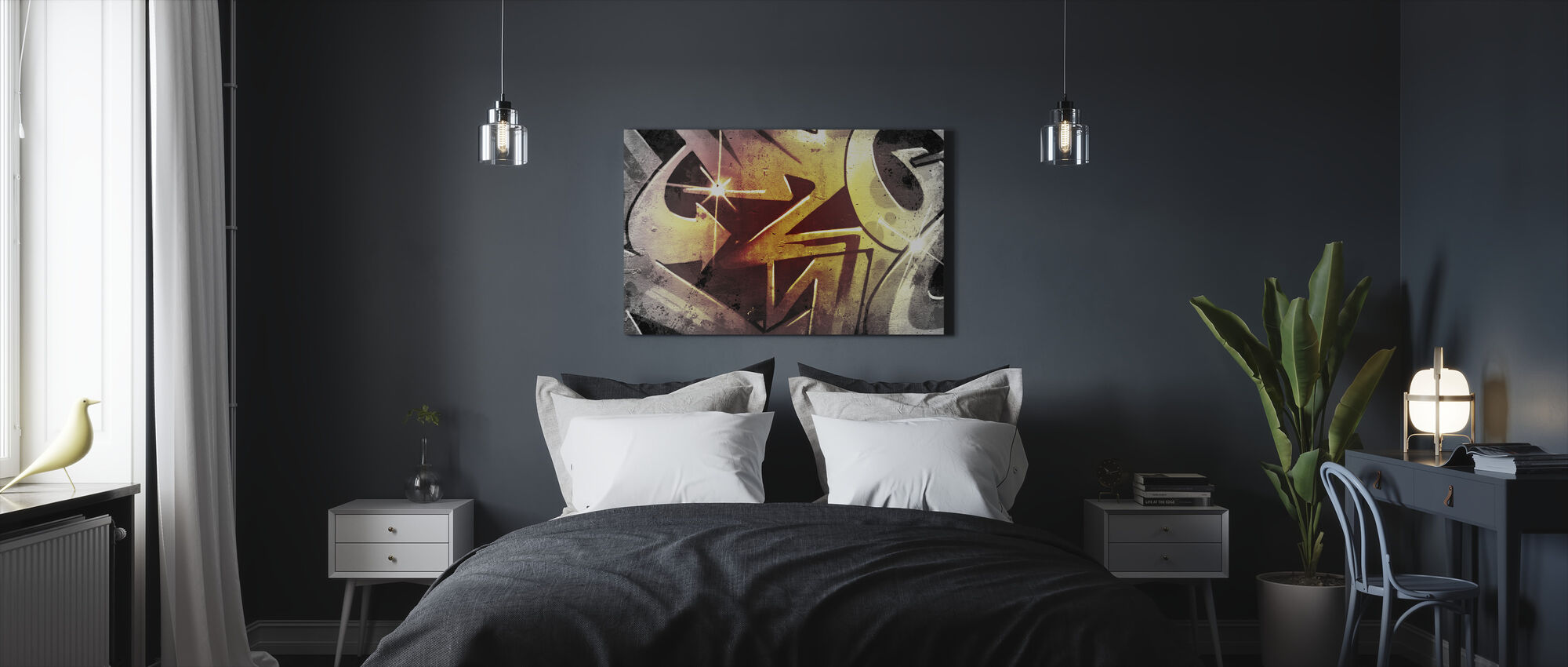 Graffiti over Old Dirty Wall - Canvas print - Bedroom