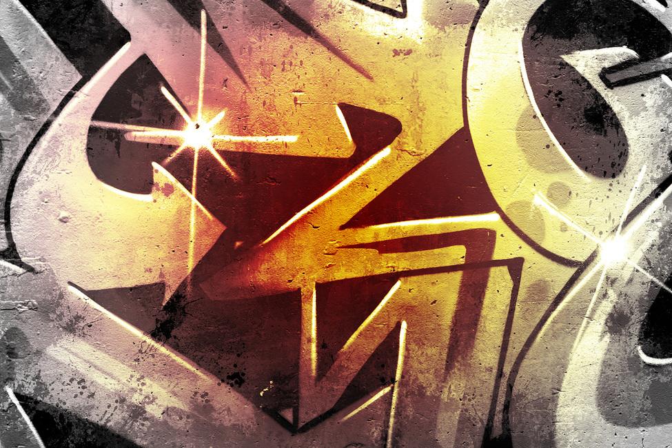 Graffiti over Old Dirty Wall Fototapeter & Tapeter 100 x 100 cm