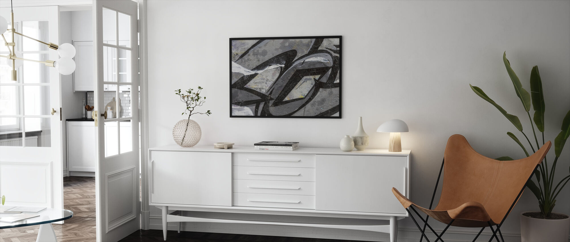 Grey Graffiti Detail - Framed print - Living Room