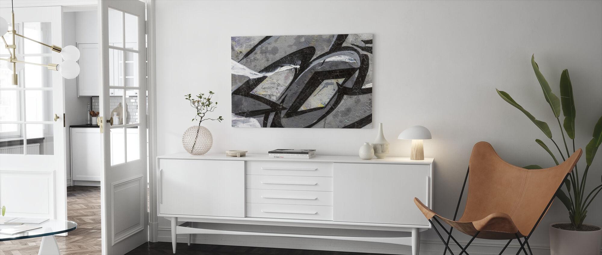 Grey Graffiti Detail - Canvas print - Living Room