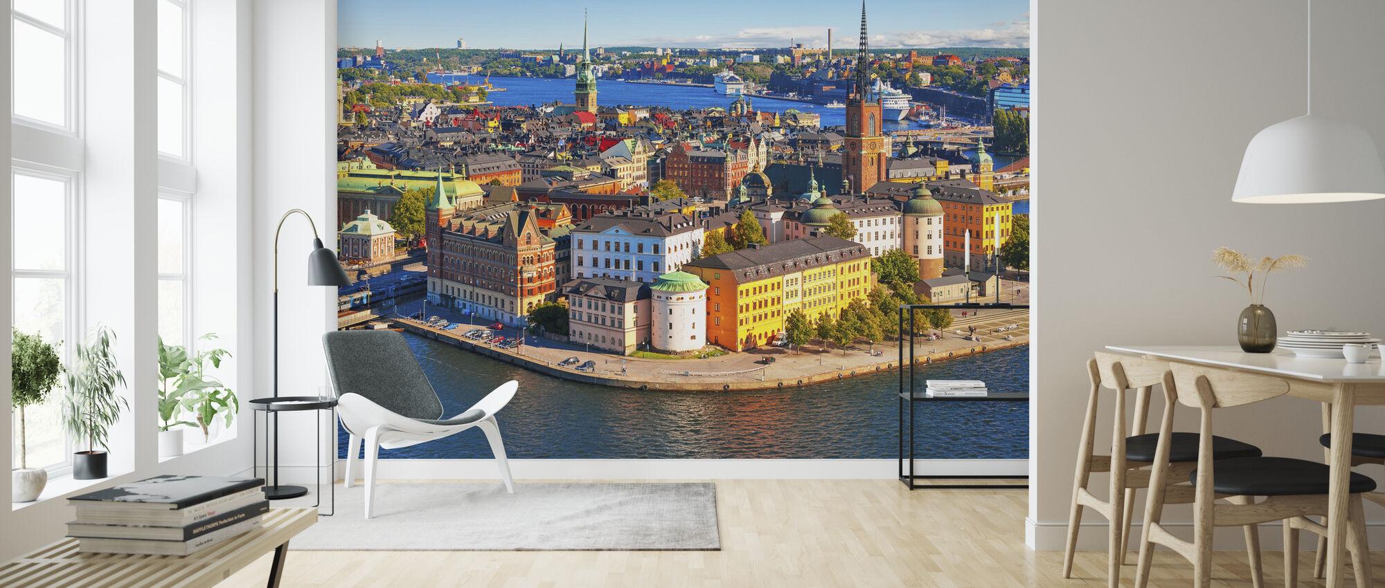 Panorama över Gamla stan i Stockholm - Tapet - Vardagsrum