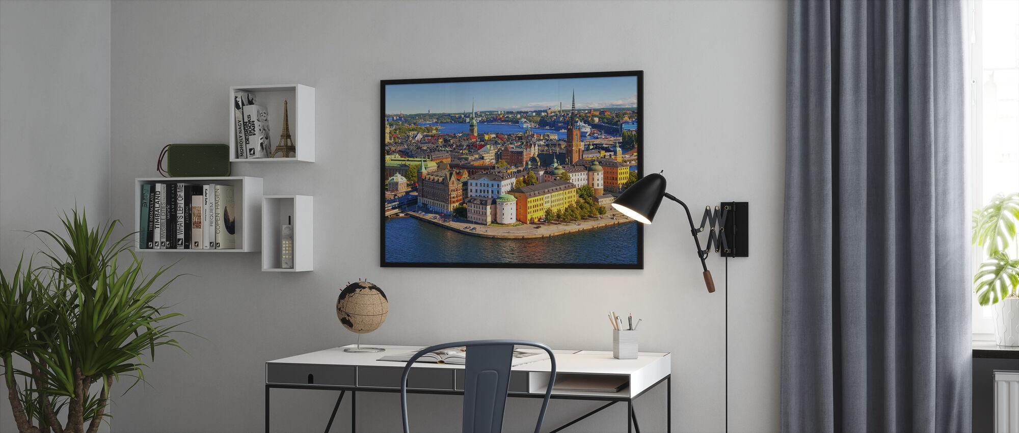 Panorama över Gamla stan i Stockholm - Inramad tavla - Kontor