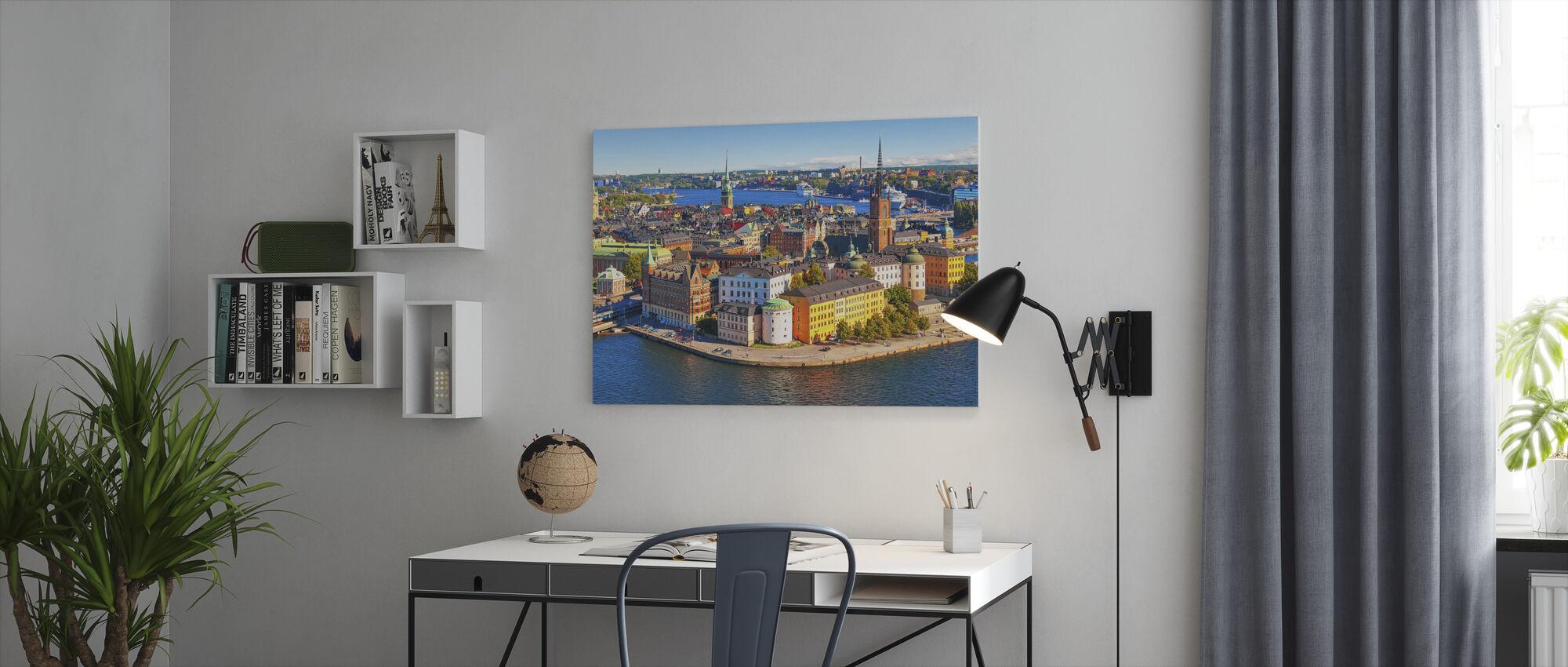 Panorama van de oude binnenstad in Stockholm - Canvas print - Kantoor
