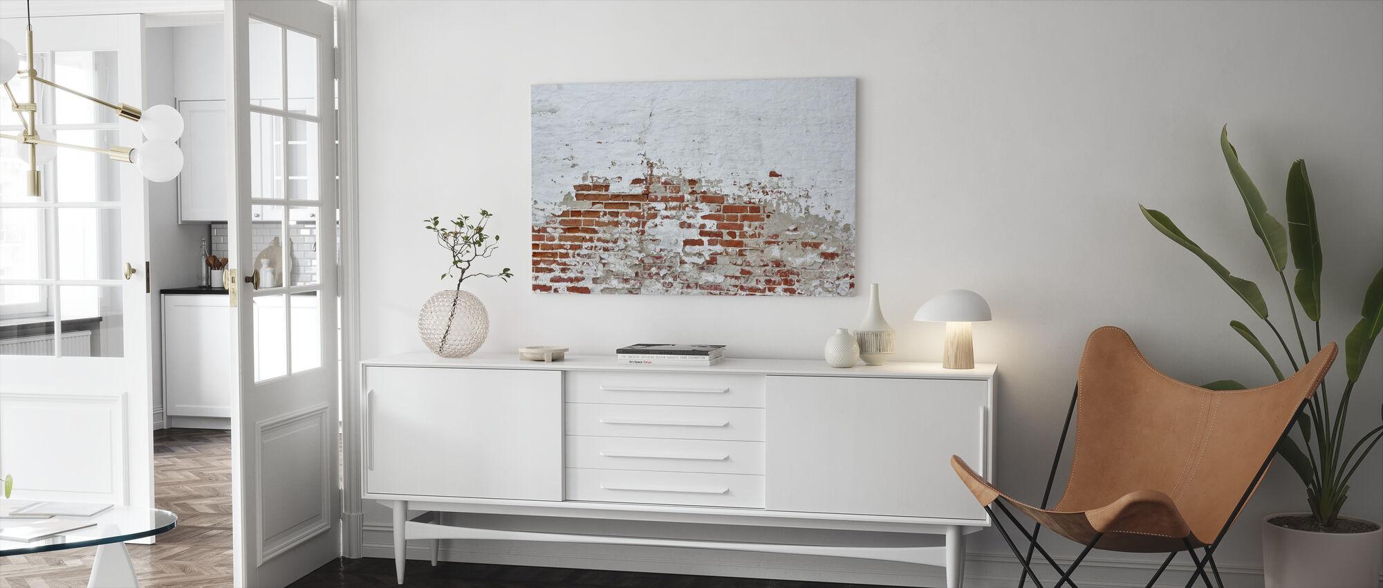 Rode bakstenen muur met besprenkelde witte pleister - Canvas print - Woonkamer
