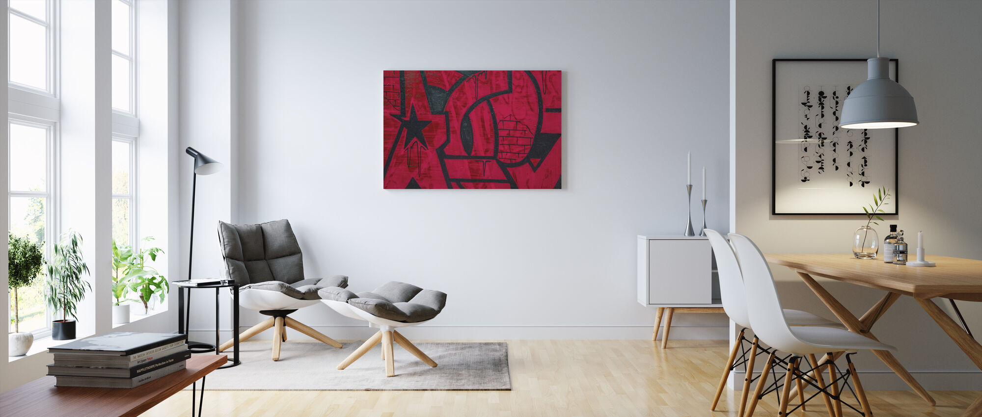 Red Detail from Graffiti Wall - Canvas print - Living Room