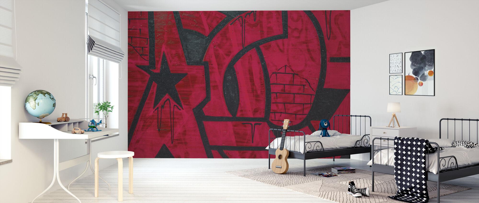 Red Detail from Graffiti Wall - Wallpaper - Kids Room