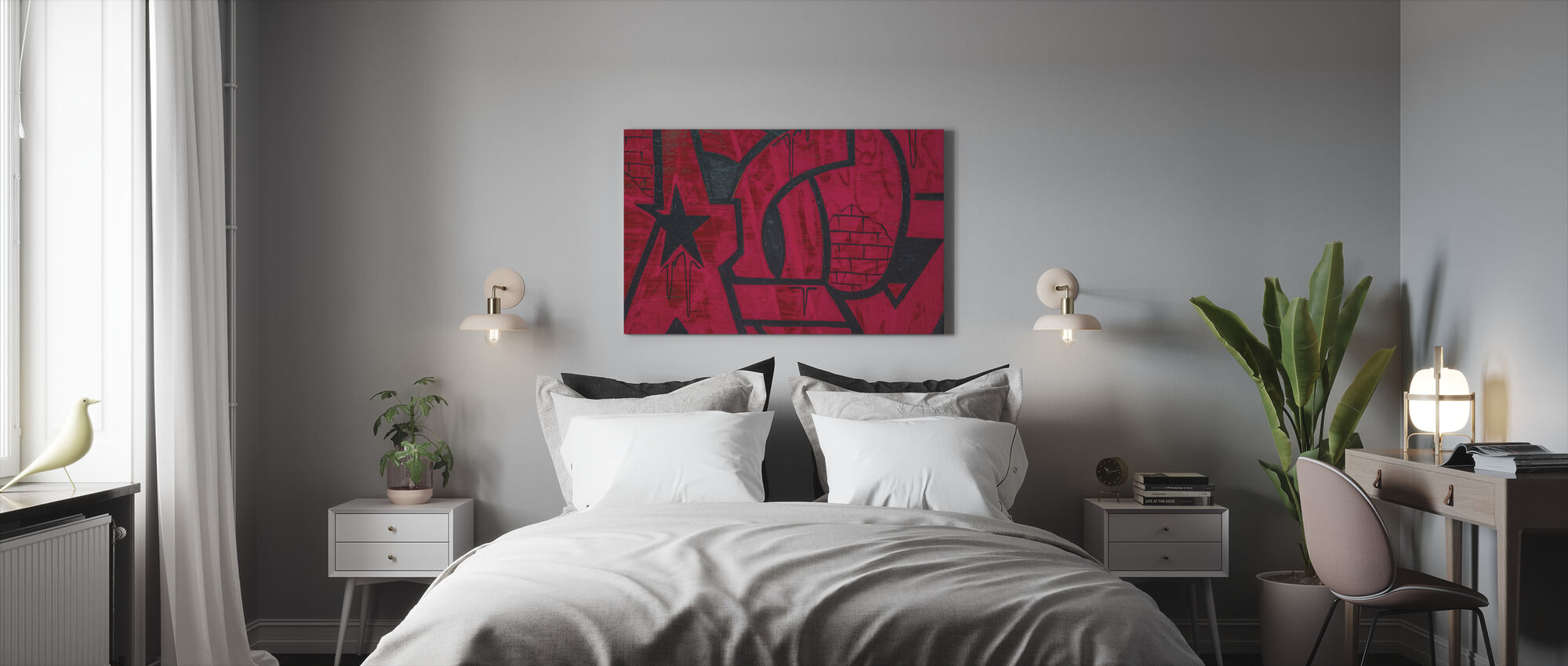 Red Detail from Graffiti Wall - Canvas print - Bedroom