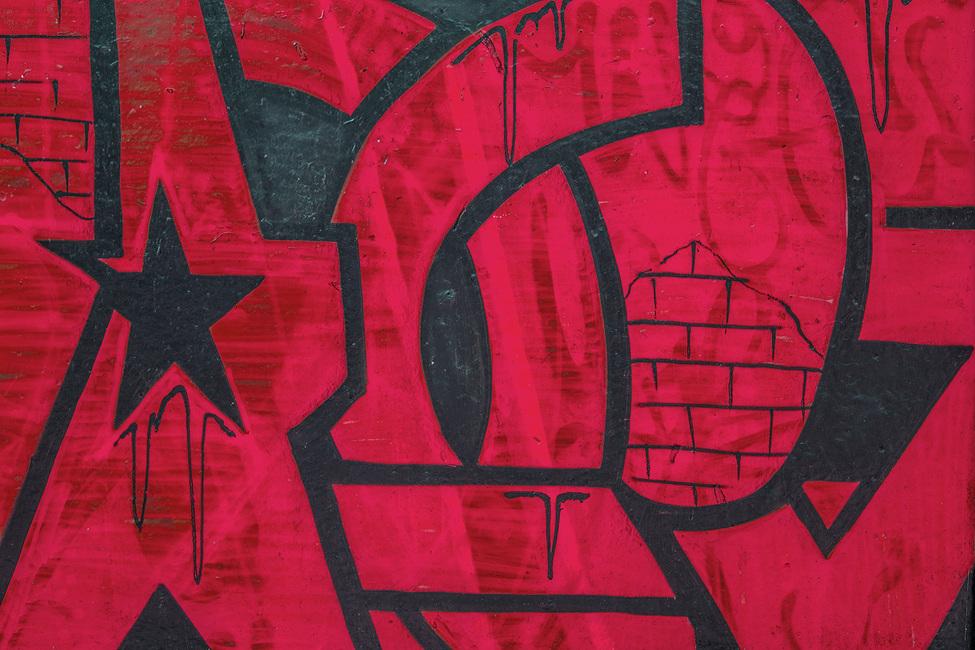Red Detail from Graffiti Wall Fototapeter & Tapeter 100 x 100 cm